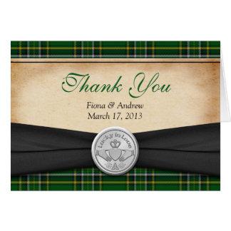 Irish Tartan Celtic Claddagh Wedding Thank You Greeting Cards