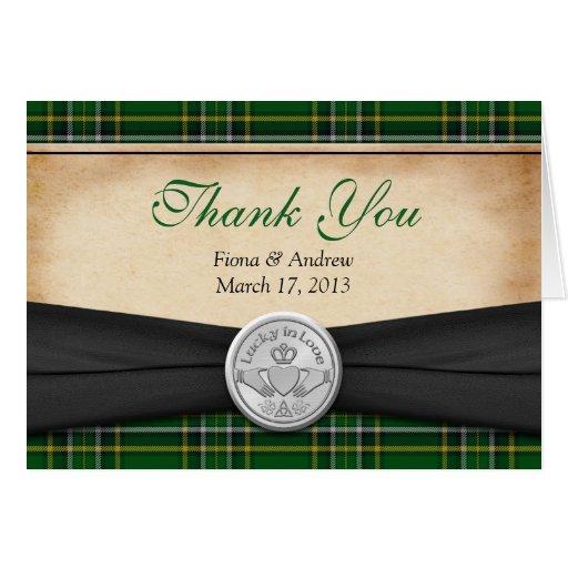 Funny Wedding Gifts Ireland : Irish Tartan Celtic Claddagh Wedding Thank You Stationery Note Card ...