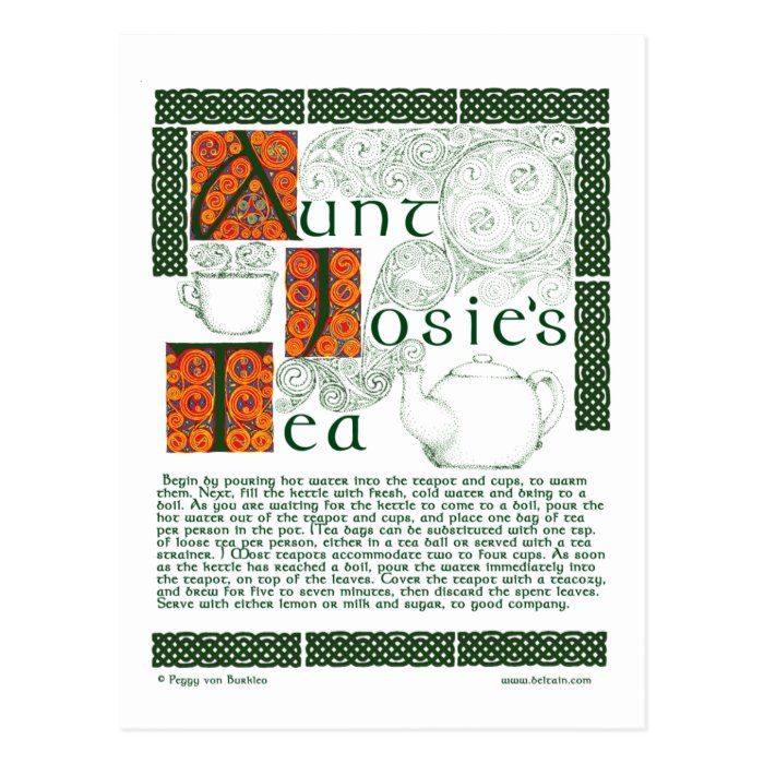 Irish Tea Recipe on Celtic Knotwork Postcards