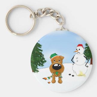 Irish Terrier Christmas Basic Round Button Keychain