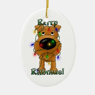 Irish Terrier - Christmas Lights Double-Sided Oval Ceramic Christmas Ornament