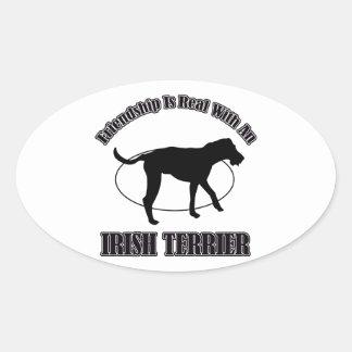 IRISH TERRIER DOG DESIGNS OVAL STICKER