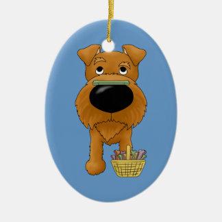 Irish Terrier - Easter Bone Hunt, Anyone? Double-Sided Oval Ceramic Christmas Ornament