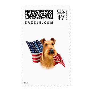 Irish Terrier Flag Postage Stamp