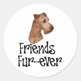 """Irish Terrier """"Friends Fur-ever"""" Classic Round Sticker"""