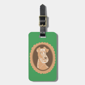 Irish Terrier Green and Brown Cameo Luggage Tag