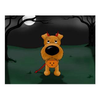 Irish Terrier Halloween Postcard