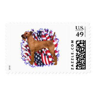 Irish Terrier Patriot Postage Stamp