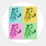 """Irish Terrier """"pop-art"""" Runde Sticker"""
