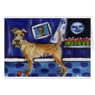 Irish Terrier senses smiling moon Greeting Card