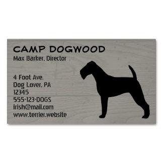 Irish Terrier Silhouette Wood Grain Business Card Magnet