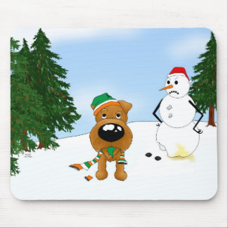 Irish Terrier Winter Scene Mouse Pad