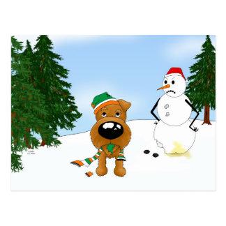 Irish Terrier Winter Scene Postcard