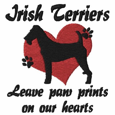 Irish Terriers Leave Paw Prints Embroidered Hoodie