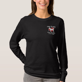 Irish Terriers Leave Paw Prints Embroidered Long Sleeve T-Shirt