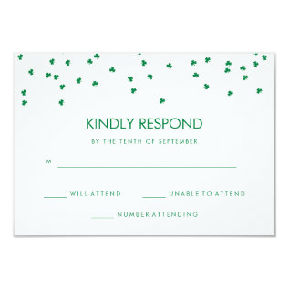 Irish Theme Shamrock Confetti | Wedding Response Card at Zazzle