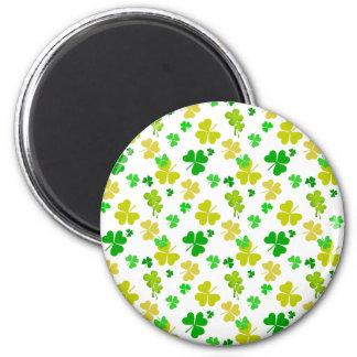 irish three leaves clover pattern 2 inch round magnet