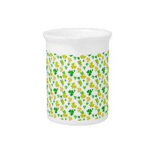 irish three leaves clover pattern beverage pitcher