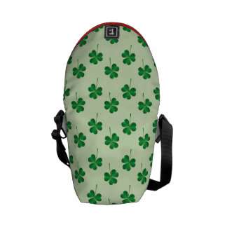 irish three leaves clover pattern messenger bag