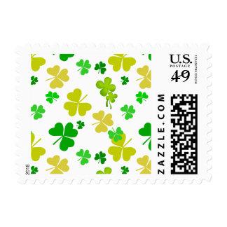 irish three leaves clover pattern postage stamp