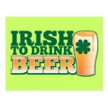 Irish to drink BEER! Postcard