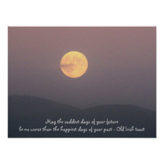 Irish Toast with Super Moon over Spokane Mountain Posters