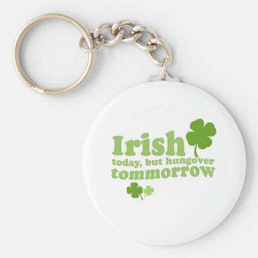 IRISH TODAY HUNGOVER TOMORROW BASIC ROUND BUTTON KEYCHAIN