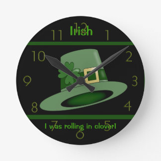 Irish top hat with clover wall clock. round clock