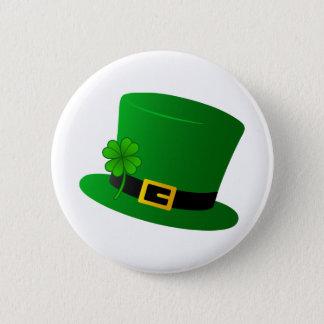 Irish Top Hat with Shamrock Pinback Button