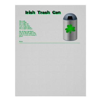 Irish Trash Can Drink Recipe Letterhead