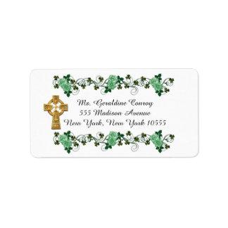 Irish trellis address labels Celtic cross