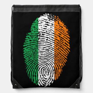 Irish Tricolor Flag Fingerprint Drawstring Bag