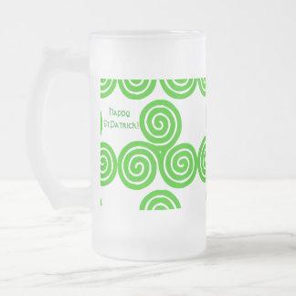 Irish Triskel Happy St Patrick Frosted Mug
