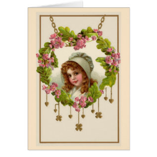 Irish Valentine Pink Green Heart Shamrocks Vintage Card at Zazzle