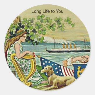 irish vintage love for erin classic round sticker