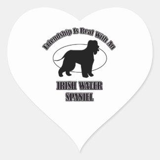 IRISH WATER SPANIEL DOG DESIGNS HEART STICKER
