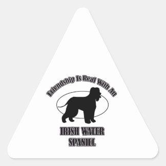 IRISH WATER SPANIEL DOG DESIGNS TRIANGLE STICKER