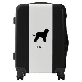 Irish Water Spaniel Silhouette with Custom Text Luggage