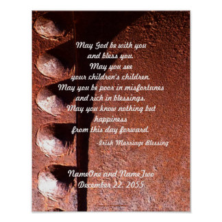 Irish Wedding Blessing, Marriage Rusty Metal Print
