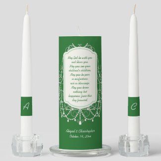 Irish Wedding Blessing Ornate Frame Unity Candle Set
