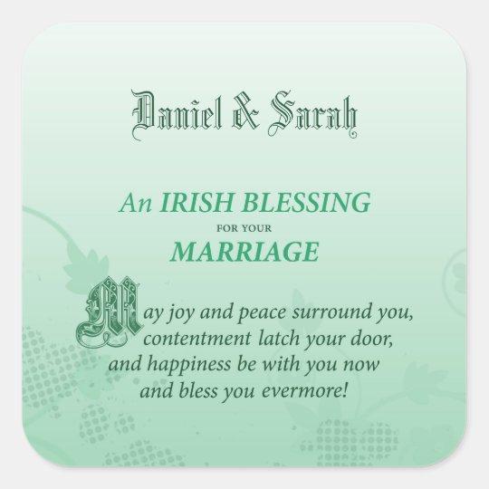 Irish Wedding Congratulations Blessing Square Sticker | Zazzle.com