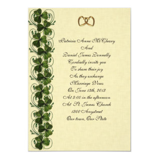 Irish Wedding Invitation Elegant Shamrocks at Zazzle