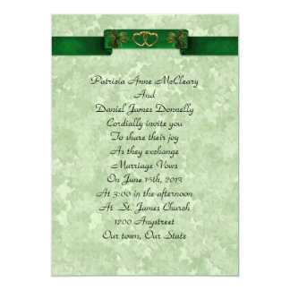 Irish wedding Invitation elegant shamrocks