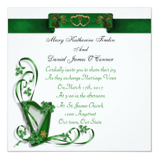 Irish Wedding Invitation Harp Shamrocks And Ribbon at Zazzle