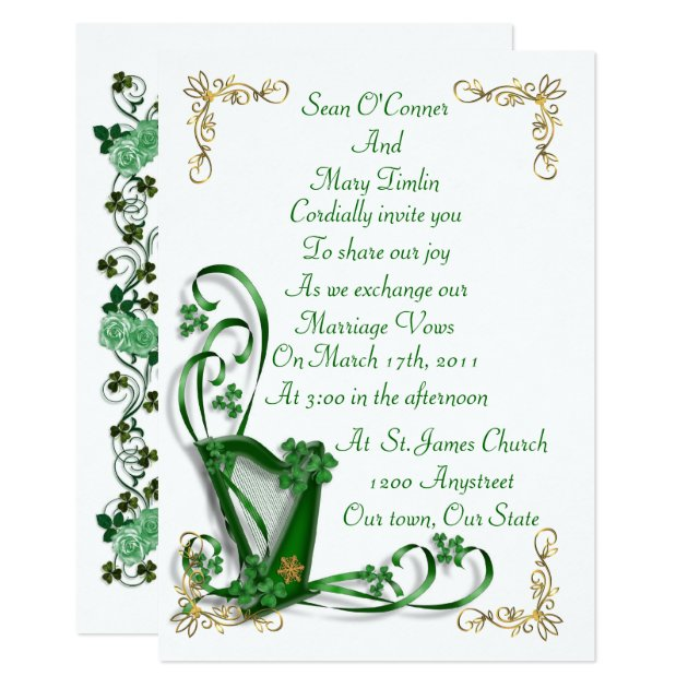 irish wedding invitation harp shamrocks and ribbon zazzle
