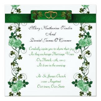 Irish Wedding invitation shamrocks and ribbon