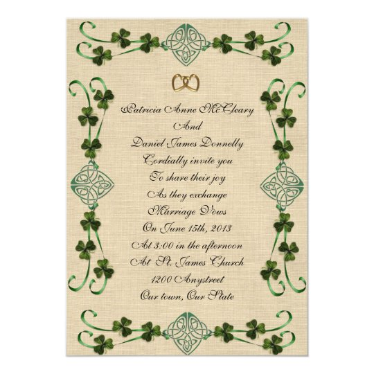Irish Wedding Invitations: Irish Wedding Invitation Unity Knot