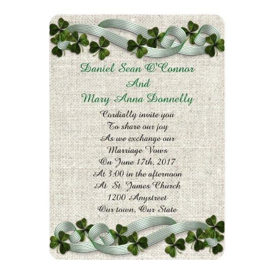 irish wedding invitations linen elegant zazzle com