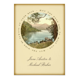 Irish Wedding Lake in Kerry Ireland and Blessing 5x7 Paper Invitation Card