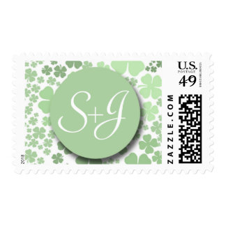 Irish Wedding Monogram Postage Stamp with clovers